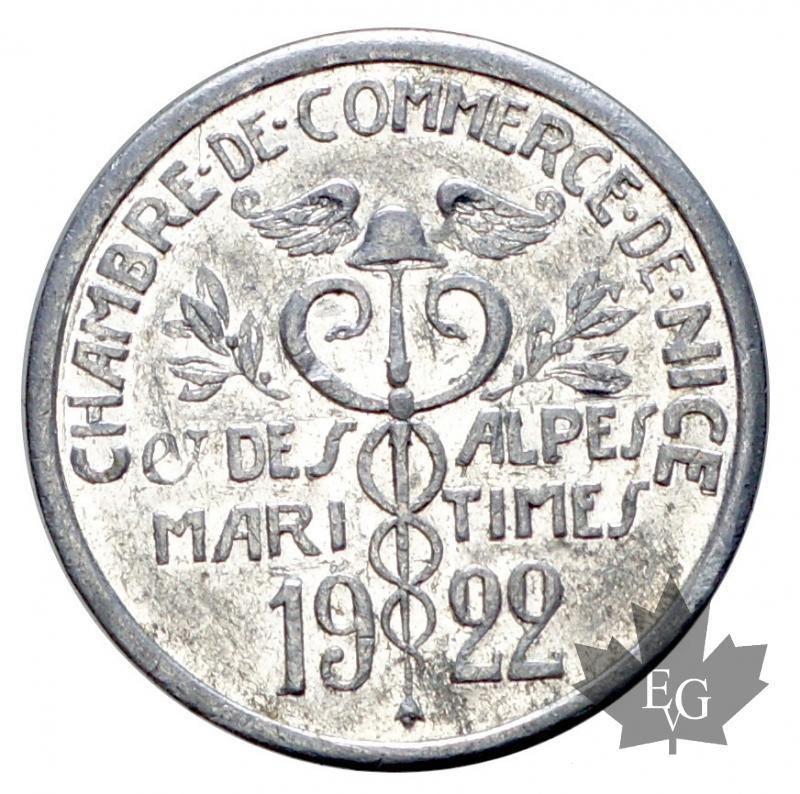 monaco chambre de commerce de nice 5 cent 1922 alu ttb sup