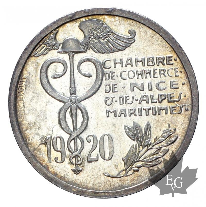 monaco chambre de commerce de nice 10 cent 1920 silver fdc