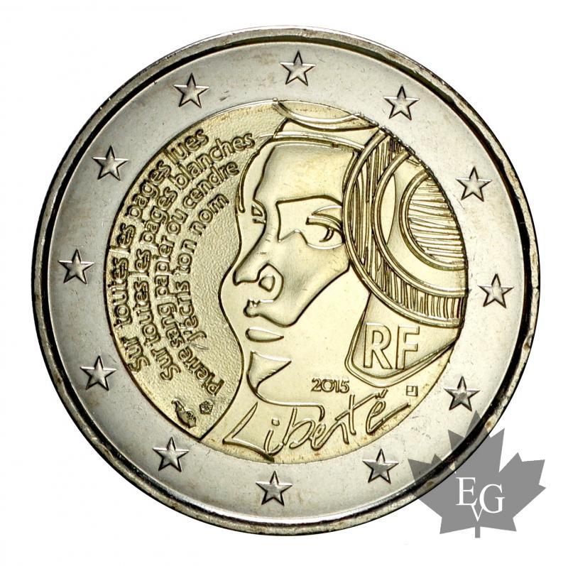 euro france 2015 2 euro commemorative libert fdc. Black Bedroom Furniture Sets. Home Design Ideas