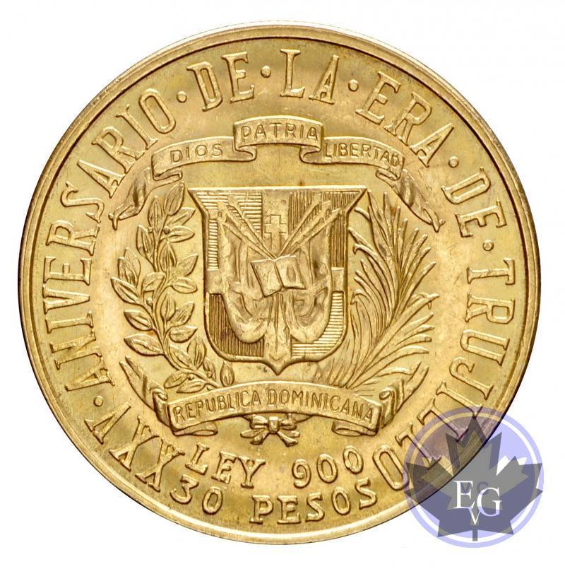 Gold r publique dominicaine 30 pesos trvjillo or gold - Prise republique dominicaine ...