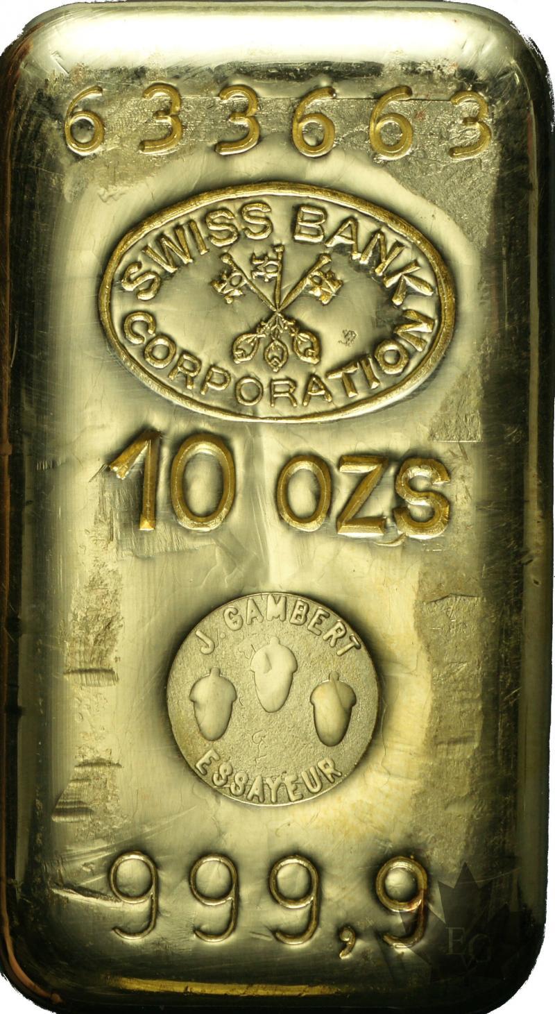 Gold Suisse 10 Onces Or 10 Ounces Gold Ingot